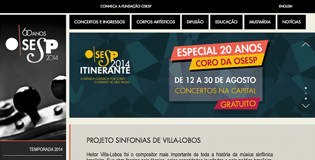Foto: Homepage do novo site